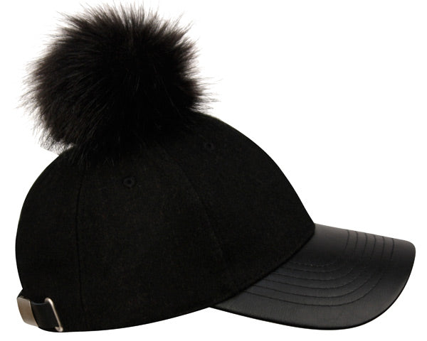 Wholesale Bulk Pack Wool Blend Black Cap With Pom Pom-GDP2118
