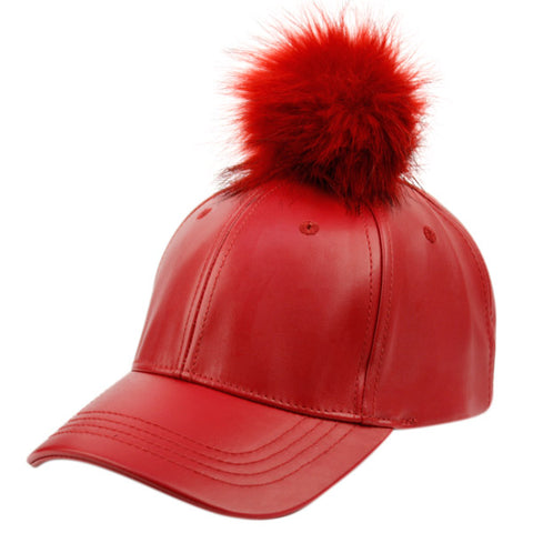 Wholesale Bulk Pack Fashion Faux Leather Cap With Pom Pom-GDP2124