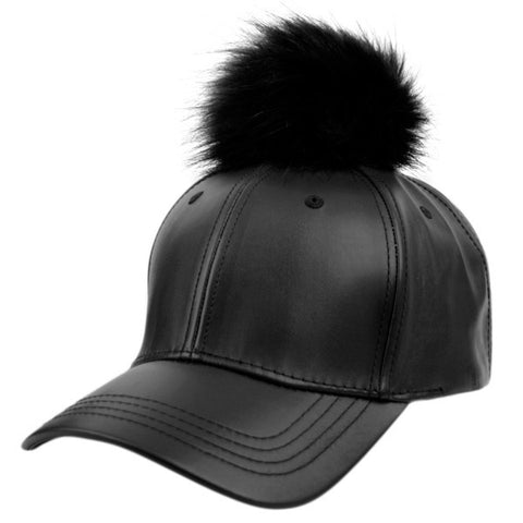 Wholesale Bulk Pack Fashion Faux Leather Cap With Pom Pom-GDP2132