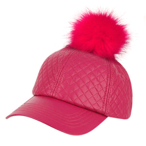 Wholesale Bulk Pack Faux Leather Six Panel Quilted Cap With Pom Pom-GDP2108