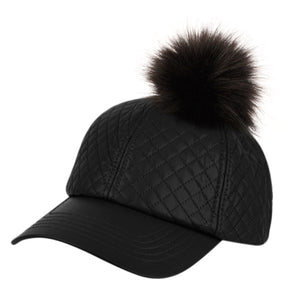 Wholesale Bulk Pack Faux Leather Six Panel Quilted Cap With Pom Pom-GDP2114