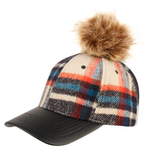 Wholesale Bulk Pack Six Panel Plaid Wool Blend Cap With Pom Pom & Pu Visor-GDP2101