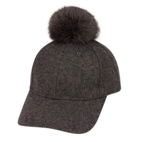 Wholesale Bulk Pack Six Panel Solid Color Wool Blend Cap W/Rabbit Fur Pom Pom-GDP2160