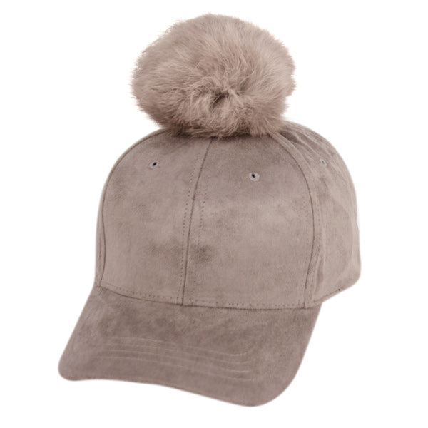 Wholesale Bulk Pack Six Panel Solid Color Suede Cap W/Rabbit Fur Pom Pom-GDP2150