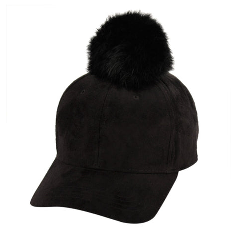Wholesale Bulk Pack Six Panel Solid Color Suede Cap W/Rabbit Fur Pom Pom-GDP2158