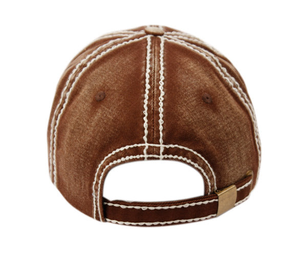 Wholesale Bulk Pack Heavy Stitch Distressed Brim Washed Cotton Two Tone Baseball Cap-GDP2403