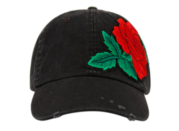 Wholesale Bulk Pack Washed Cotton Baseball Cap With Rose Flower Patch-GDP2387