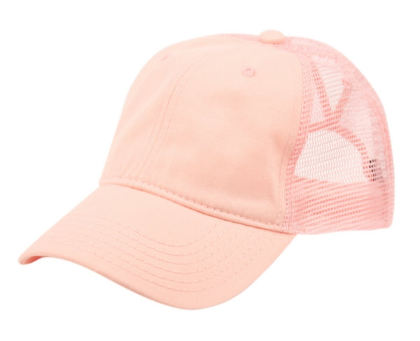 Wholesale Bulk Pack Ponytail Washed Cotton Trucker Cap-GDP2487