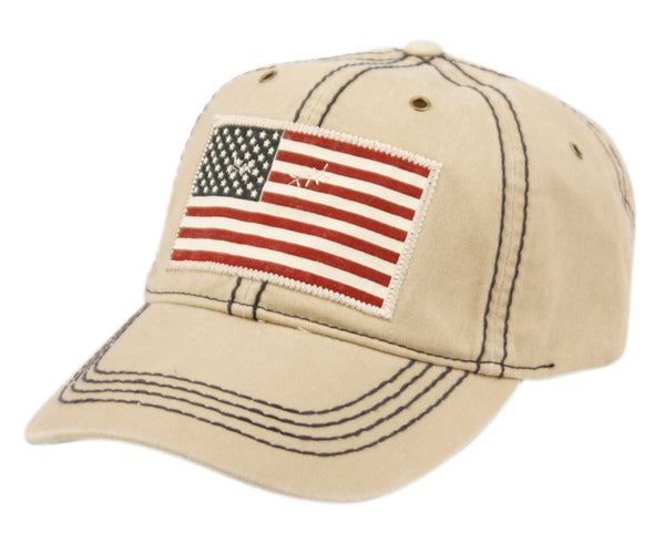 Wholesale Bulk Pack Washed Cotton Baseball Cap With American Flag Patch-GDP2561
