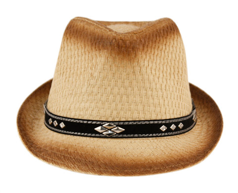 Wholesale Bulk Pack Paper Straw Fedora Hats With Leather Band And Studs-GDP3261