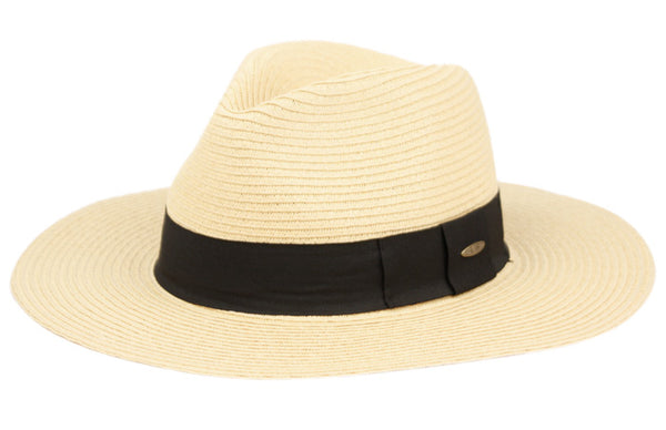 Wholesale Bulk Pack Paper Straw Braid Fedora Hats With Color Edge & Band-GDP3315