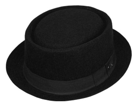 Wholesale Bulk Pack Round Shape Wool Blend Pork Pie Fedora Hats W/Grograin-GDP3196