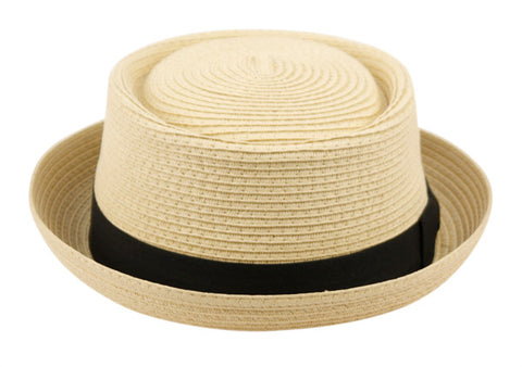 Wholesale Bulk Pack Straw Braid Pork Pie Hats With Grosgrain Band-GDP3342