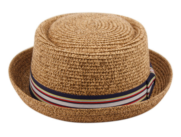 Wholesale Bulk Pack Straw Pork Pie Hats With Stripe Band-GDP3318