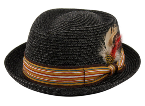 Wholesale Bulk Pack Straw Fedora Hats With Stripe Band & Feather-GDP3323