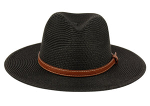 Wholesale Bulk Pack Braid Straw Panama Hats With Leather Band-GDP3247