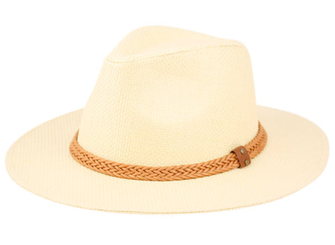 Wholesale Bulk Pack Panama Paper Straw Fedora Hats With Faux Leather Band-GDP3243