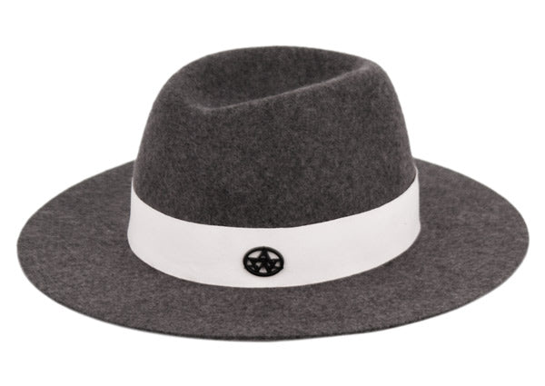 Wholesale Bulk Pack Ladies Wide Brim Felt Fedora W/Contrast Grosgrain Band-GDP3596