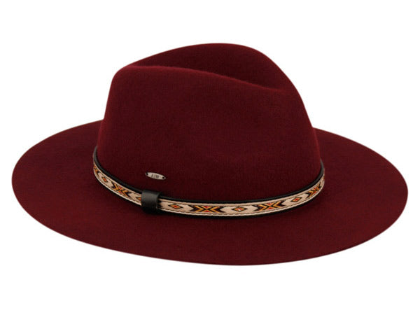 Wholesale Bulk Pack Ladies Wide Brim Felt Fedora W/Woven Tribal Band-GDP3592