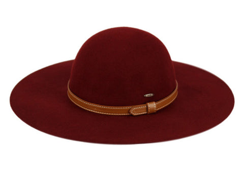 Wholesale Bulk Pack Ladies Wide Brim Felt Floppy W/Faux Leather Band GDF2282