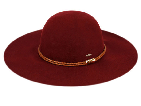 Wholesale Bulk Pack Ladies Wide Brim Felt Floppy W/Braid Pu Band And Metal Trim GDF2284