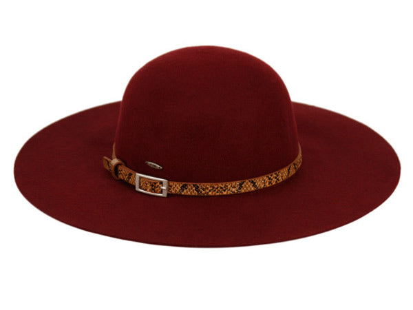 60d143e5843e6 Wholesale Bulk Pack Ladies Wide Brim Felt Floppy W Snakeskin Pu Band  GDF2285 ...
