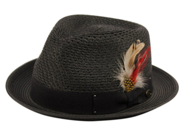Wholesale Bulk Pack Poly Braid Fedora Hats With Band & Feather-GDP3372