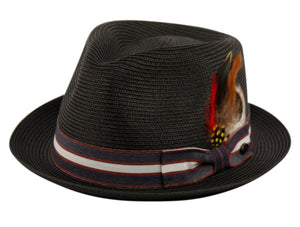 Wholesale Bulk Pack Poly Braid Fedora Hats With Band & Feather-GDP3360