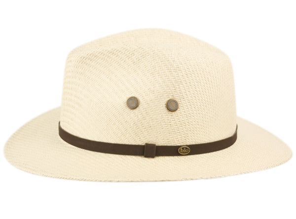 Wholesale Bulk Pack Woven Paper Straw Panama Hats With Leather Band-GDP3273