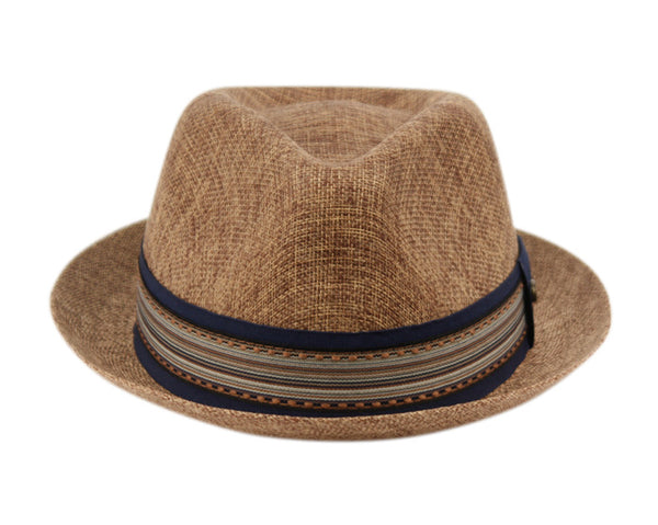 Wholesale Bulk Pack Linen/Cotton Fedora Hats With Fabric Stripe Band-GDP3332