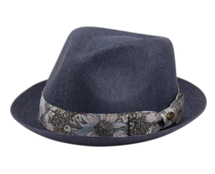 Wholesale Bulk Pack Straw Paper Fedora Hats With Floral Band-GDP3277