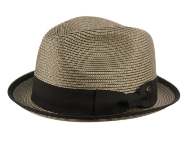 Wholesale Bulk Pack Poly Braid Fedora Hats With Band & Fabric Edge-GDP3283