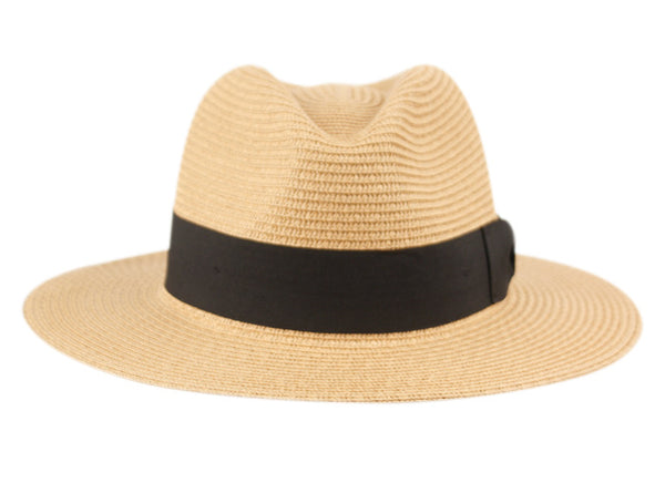 Wholesale Bulk Pack Paper Straw Braid Panama Hats With Grosgrain Band-GDP3293