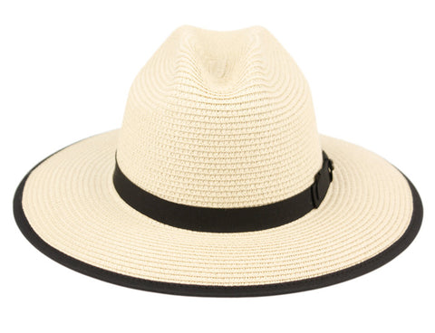Wholesale Bulk Pack Braid Paper Straw Fedora Hats With Fabric Band & Edge GDF4009