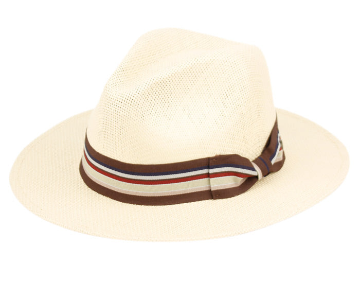 Wholesale Bulk Pack Woven Paper Straw Panama Hats With Stripe Band GDF4013