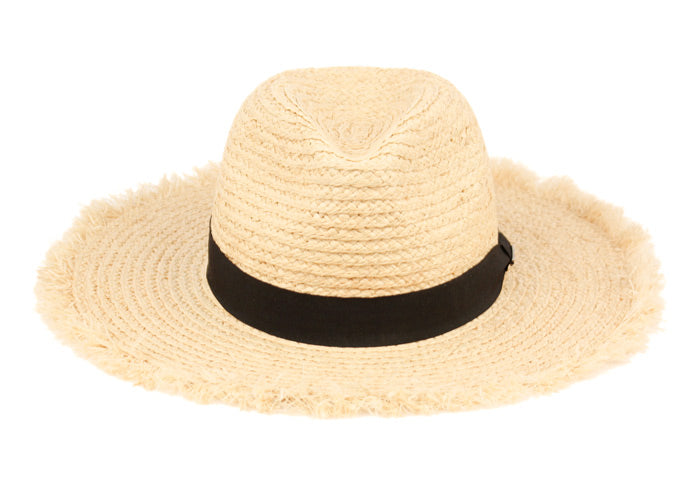 Wholesale Bulk Pack Raffia Straw Raw Edge Panama Hats With Black Band GDF4016