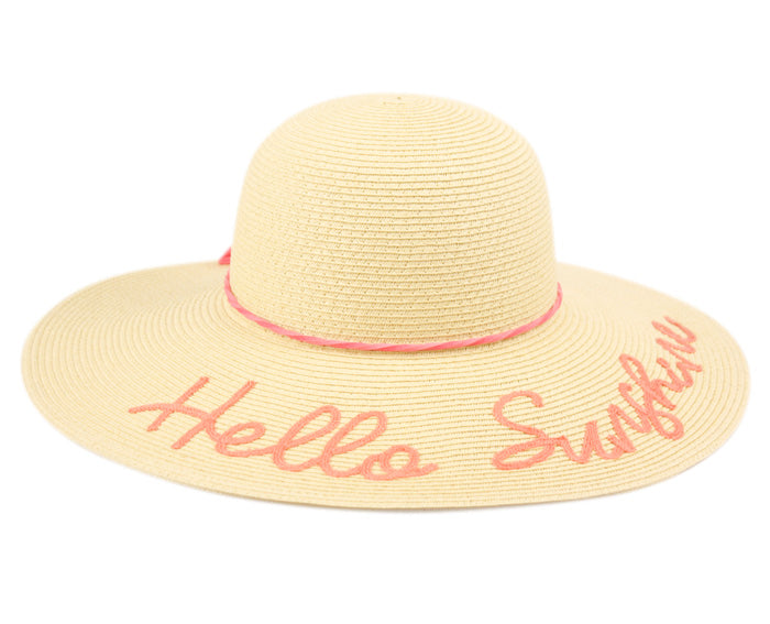 Wholesale Bulk Pack Hello Sunshine Braid Paper Straw Floppy Hats With Band GDFL2909