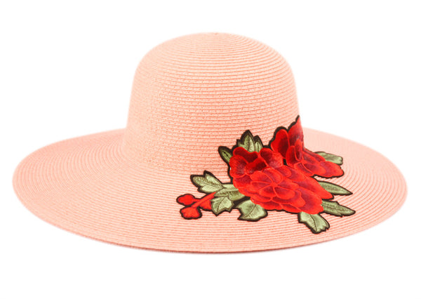 Wholesale Bulk Pack Braid Straw Floppy Hats With Floral Embroidery GDFL2913