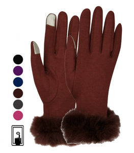 Wholesale Bulk Pack Ladies Jersey Touch Screen Glove With Fur Cuff GDGL2026