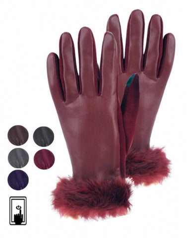 Wholesale Bulk Pack Ladies Faux Leather Glove W/Screen Touch GDGL2168