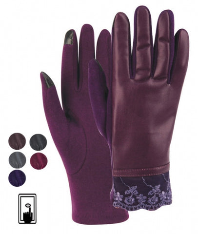 Wholesale Bulk Pack Ladies Faux Leather Touch Screen Glove GDGL2169