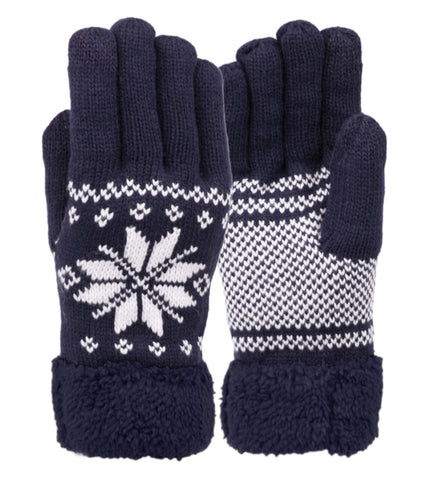 Wholesale Bulk Pack Snowflake Winter Knit Gloves W/Screen Touch GDGL3012Men