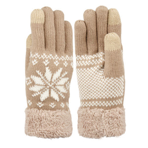 Wholesale Bulk Pack Snowflake Winter Knit Gloves W/Screen Touch GDGL3012Women