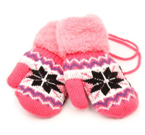 Wholesale Bulk Pack Winter Knit Kids Mittens W/Sherpa Lining & String-GDP467
