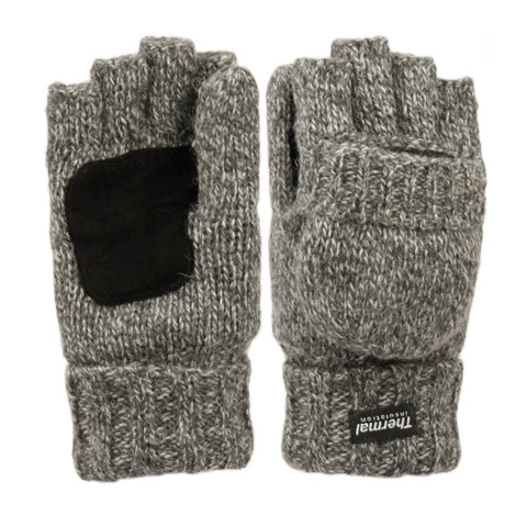Wholesale Bulk Pack Half Finger Wool Knit Gloves With Cover & Palm Patch GDGL3058