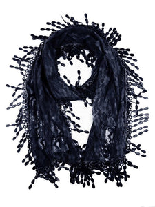 Wholesale Bulk Pack Lace scarf Navy Blue Lace scarf Navy Blue-GDP299
