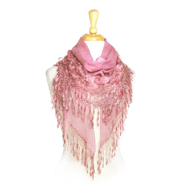 Wholesale Bulk Pack Wholesale Lace Scarf Triangle Light Weight Scarf With Flowers - Light-GDP226