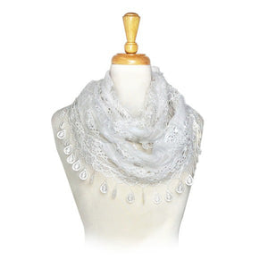 Wholesale Bulk Pack Wholesale Lace Infinity Scarf White-GDP214