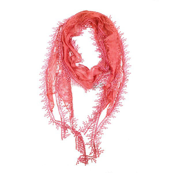 Wholesale Bulk Pack Lace Scarf Long Snowflake Fringe Tassel Sheer Embroidery Solid Color Coral-GDP156