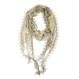 Wholesale Bulk Pack Lace Scarf Long Snowflake Fringe Tassel Sheer Embroidery Solid Color Khaki-GDP154